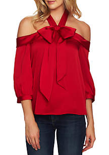Off-the-Shoulder Bow Blouse