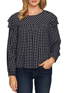 CeCe Long Sleeve Tiered Ruffle Plaid Blouse
