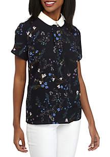 CeCe Cap Sleeve Floral Vine Print Top