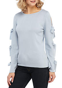 CeCe Long Slit Sleeve Sweater with Bows
