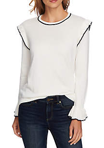 Ruffle Sleeve Sweater with Stripe