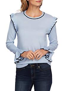 CeCe Ruffle Sleeve Sweater with Stripe