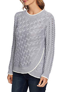Long Sleeve Cable Knit Overlay Blouse