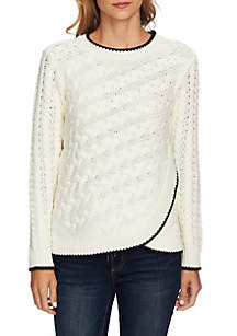 CeCe Long Sleeve Cable Knit Overlay Blouse