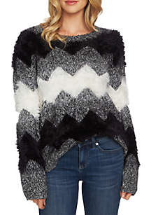 Long Sleeve Zig Zag Stripe Sweater