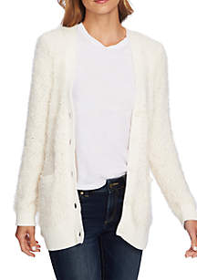 Long Sleeve Popcorn Eyelash Cardigan