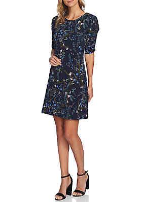da8f2c90f71a CeCe Ruched Sleeve Floral Vine Dress ...