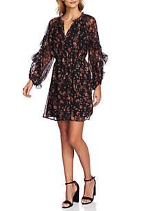 Long Sleeve Ruffle Bohemian Print Dress