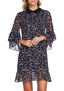Ruffle Ditsy Collar Dress