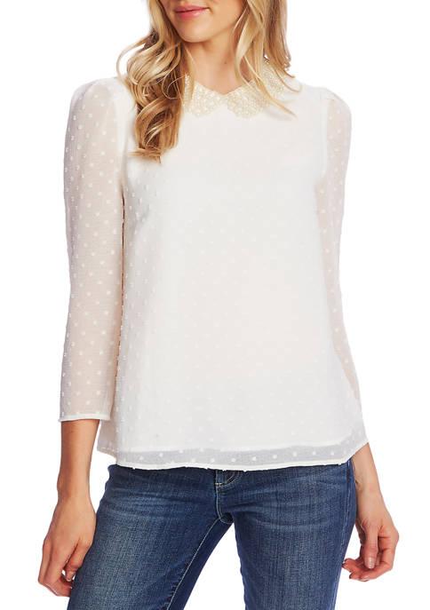 CeCe Womens 3/4 Sleeve Pearl Collar Dot Blouse