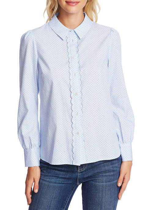 CeCe Womens Pin Dot Blouse with Scallop