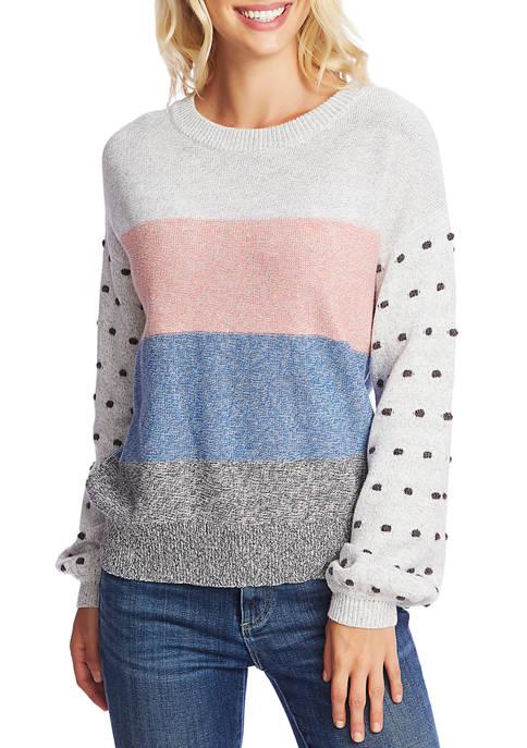 CeCe Womens Long Sleeve Jersey Stripe Sweater