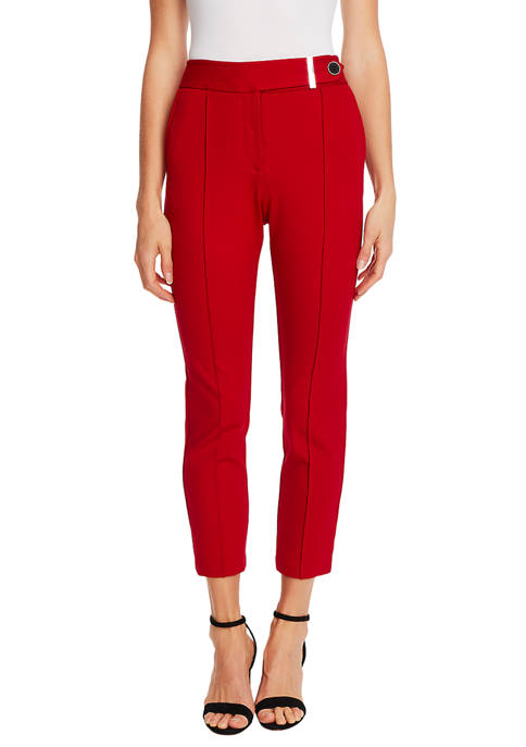 CeCe Womens 2 Pocket Ponte Pants with Front