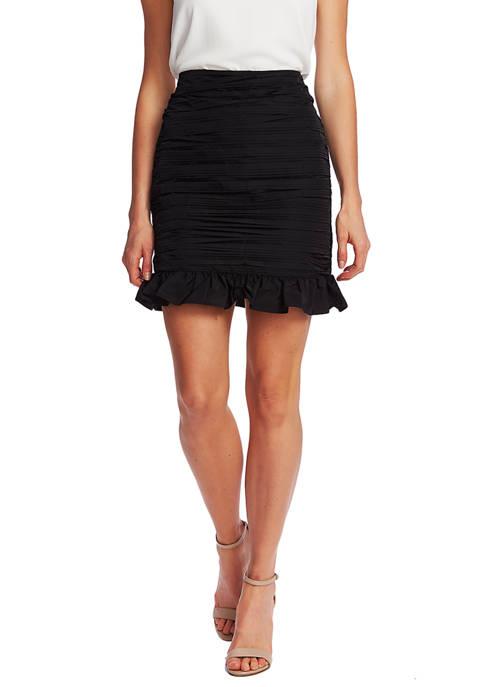 CeCe Womens Taffeta Pencil Skirt with Ruffle Hem