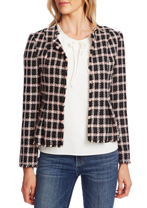 CeCe Womens Grid Tweed Frayed Jacket