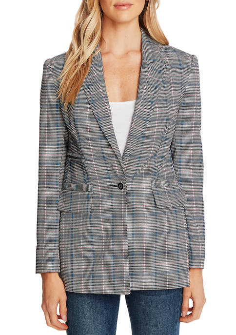 CeCe Womens One Button Windsor Check Blazer
