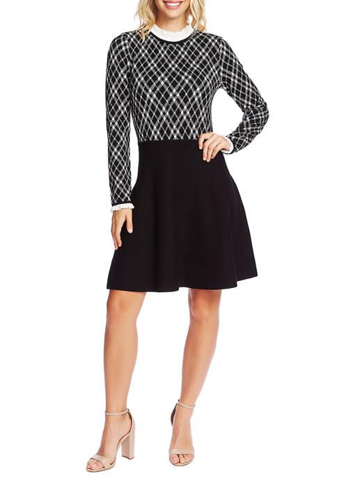 CeCe Womens Long Sleeve Plaid Jacquard Sweater Dress