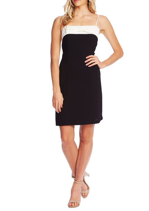 CeCe Womens Sleeveless Color Block Dress with Bow
