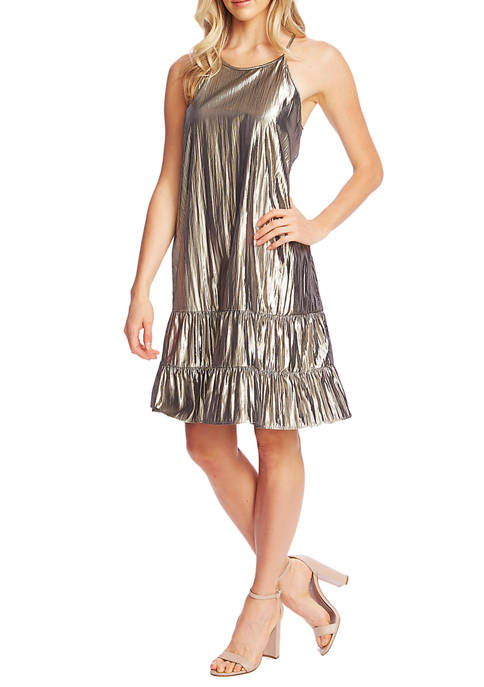 CeCe Womens Sleeveless Halter Neck Gold Dress