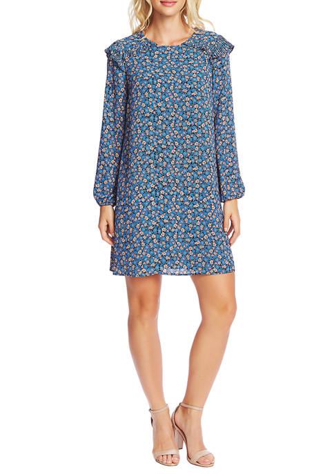 CeCe Womens Long Sleeve Floral Cluster Dress