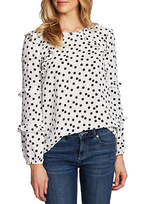 CeCe Womens Long Sleeve Galactic Dot Tiered Ruffle