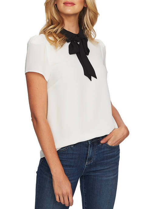 CeCe Short Sleeve Collar Blouse with Necktie