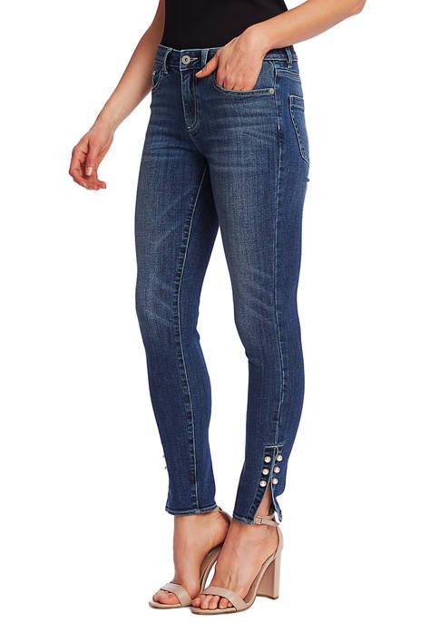 CeCe Womens Pearl Side Bar Denim Jeans