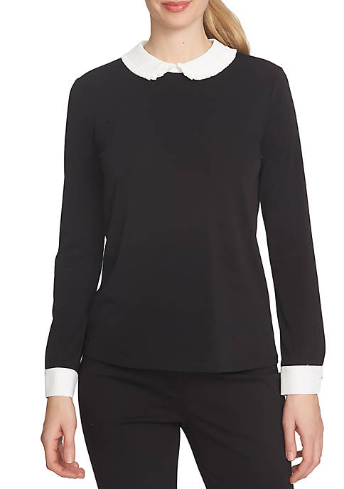 CeCe Long Sleeve Color Block Pleated Collar Top