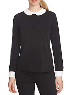 Long Sleeve Color Block Pleated Collar Top