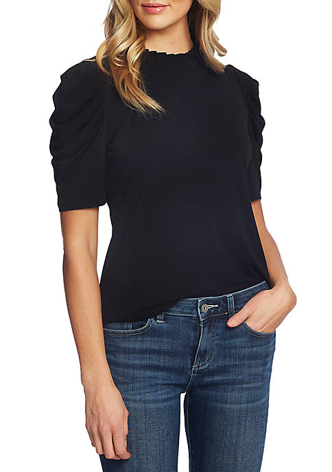 Puffed Elbow Sleeve Knit Top