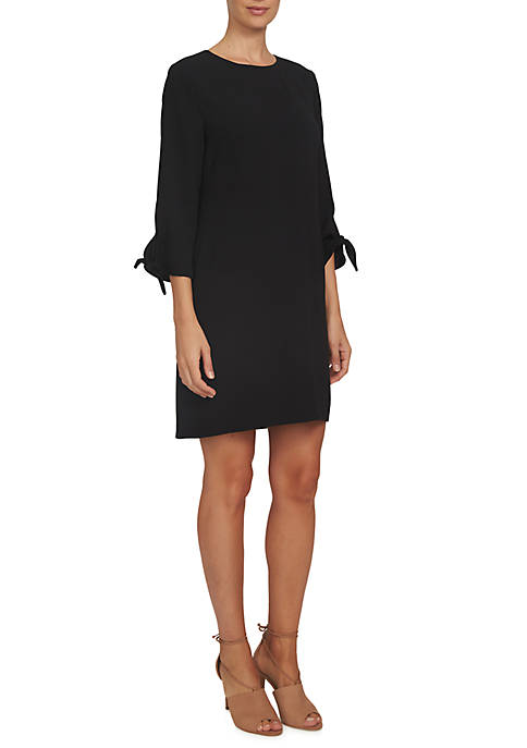CeCe 3/4 Sleeve Moss Crepe Shift Dress