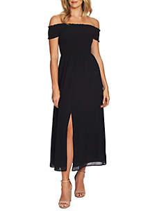 CeCe Off the Shoulder Smocked Maxi Dress