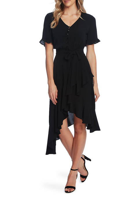 CeCe Womens Ruffled Sleeve Midi Dress
