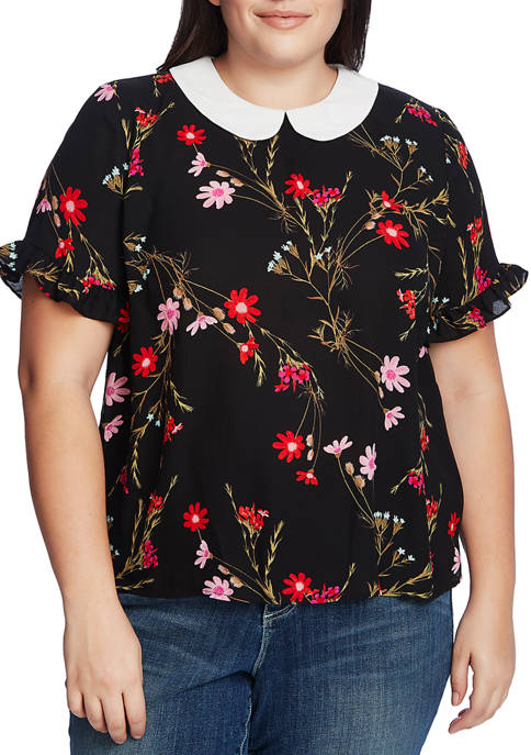 CeCe Plus Size Short Sleeve Collared Print Blouse