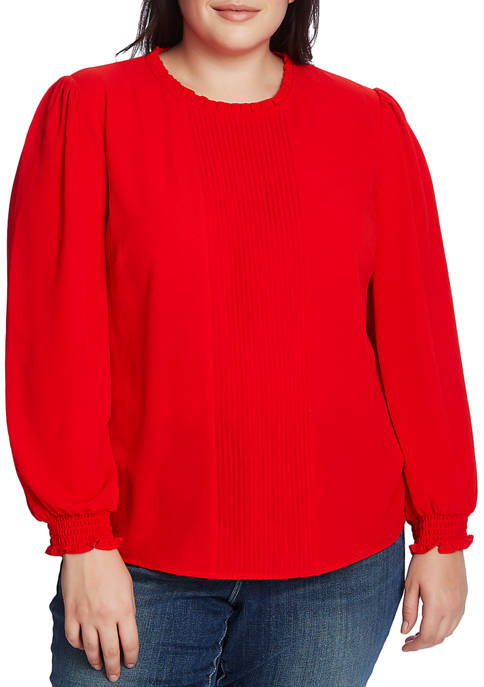 CeCe Plus Size Long Sleeve Smocked Blouse