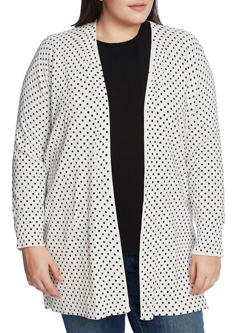 CeCe Plus Size Long Sleeve Polka Dot Cardigan