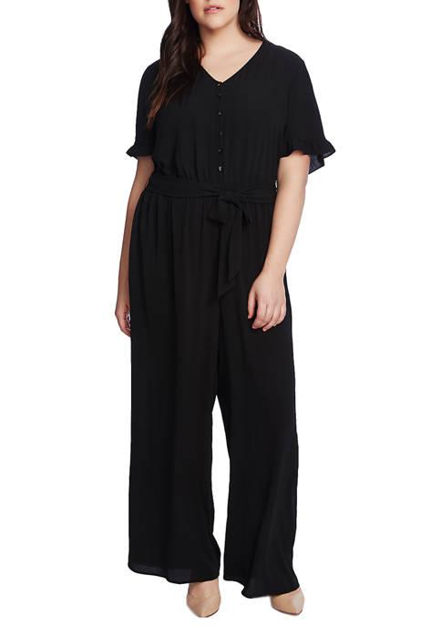 Plus Size Short Ruffle Sleeve Belted Jumpsuit