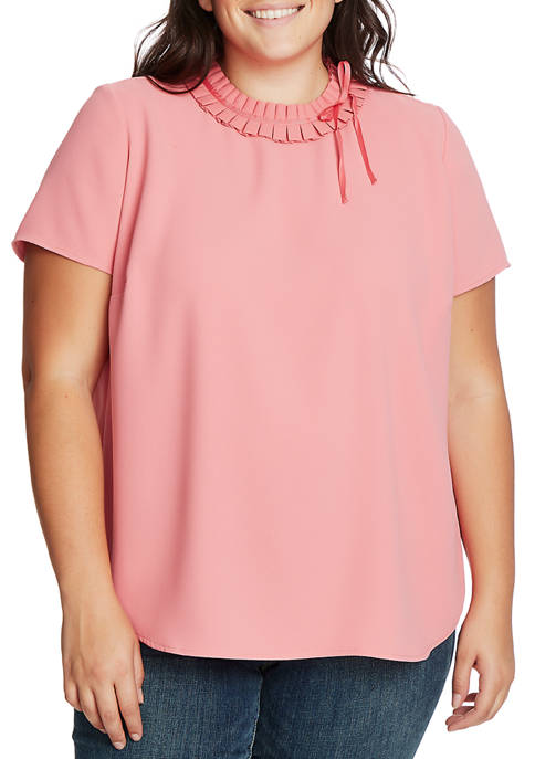 CeCe Plus Size Short Sleeve Pleated Neck Blouse