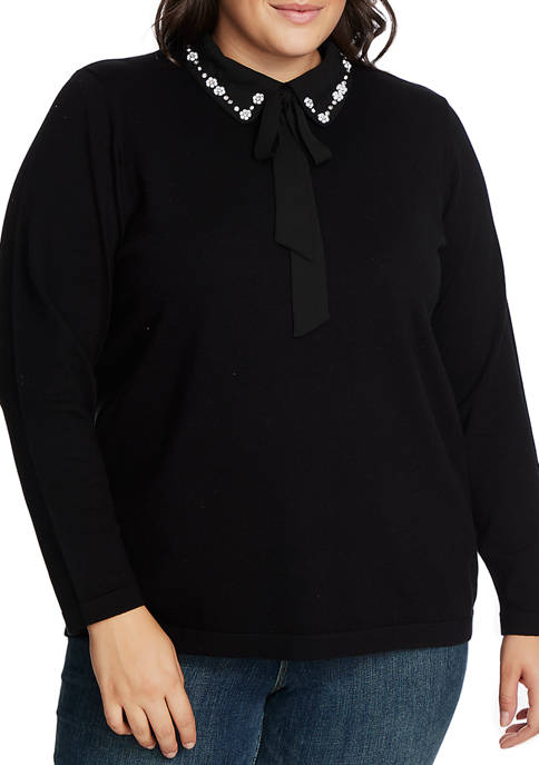 CeCe Plus Size Long Sleeve Embellished Collar Sweater