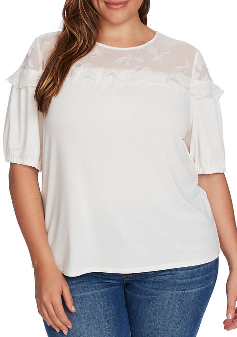 CeCe Plus Size Short Sleeve Floral Yoke Knit