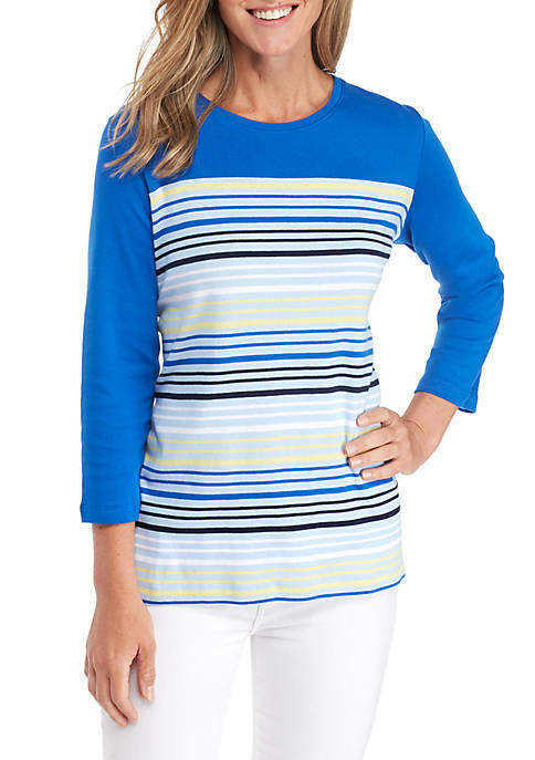 Kim Rogers® Crew Neck Stripe Shift Shirt