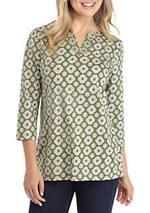 3/4 Sleeve Embroidered Split Neck Print Top