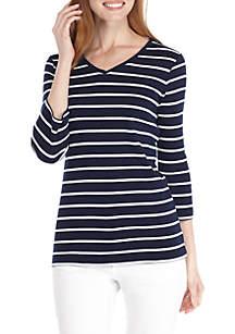 Three-Quarter Sleeve V-Neck Stripe Top