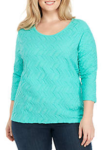 Plus Size Three-Quarter Sleeve Textured Tunic Top