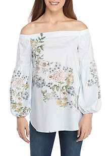 Petite Off-The-Shoulder Lantern Sleeve Top