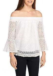 Petite Off-The-Shoulder Lace Flounce Sleeve Top