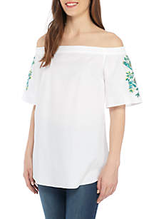 Petite Size Off-the-Shoulder Embroidered Top