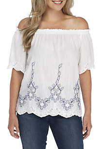 Petite Off-The-Shoulder Embroidered Short Sleeve Top