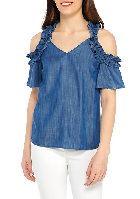 Kaari Blue™ Petite Cold Shoulder Tencel Top