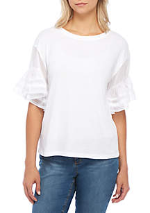 Petite Sleeveless Woven Knit Tee Shirt